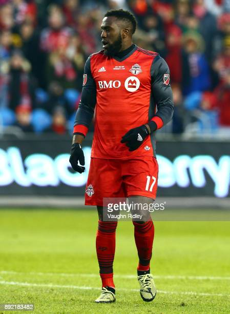 Jozy Altidore of Toronto FC looks on during the 2017 MLS Cup Final against the Seattle Sounders at BMO Field on December 9 2017 in Toronto Ontario...