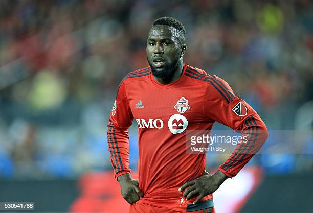 Jozy Altidore of Toronto FC looks on during the second half of an MLS soccer game against FC Dallas at BMO Field on May 7 2016 in Toronto Ontario...