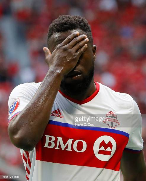 Jozy Altidore of Toronto FC reacts after first half against the Atlanta United at MercedesBenz Stadium on October 22 2017 in Atlanta Georgia