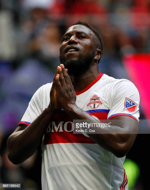 Jozy Altidore of Toronto FC reacts after missing a shot on goal against the Atlanta United at MercedesBenz Stadium on October 22 2017 in Atlanta...