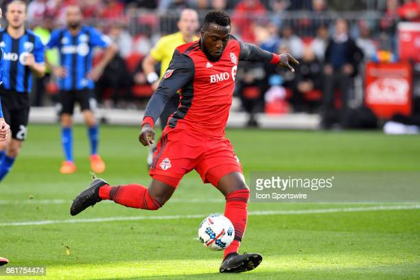 Jozy Altidore of Toronto FC shoots the ball to score the opening goal during the first half of the MLS Soccer regular season game between Toronto FC...