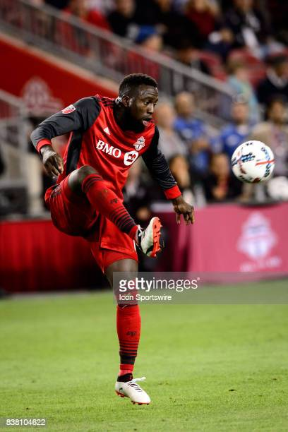 Jozy Altidore of Toronto FC stops the ball during the second half of the MLS Soccer regular season game between Toronto FC and Philadelphia Union on...