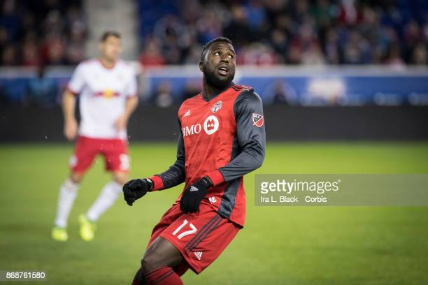 Jozy Altidore of Toronto FC waits for the pass during the Audi MLS Cup Playoff match between New York Red Bulls and Toronto FC at Red Bull Arena on...