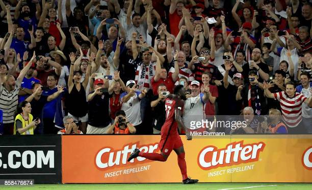 Jozy Altidore of United States celebrates a goal during the 2018 FIFA World Cup Qualifying match against Panama at Orlando City Stadium on October 6...
