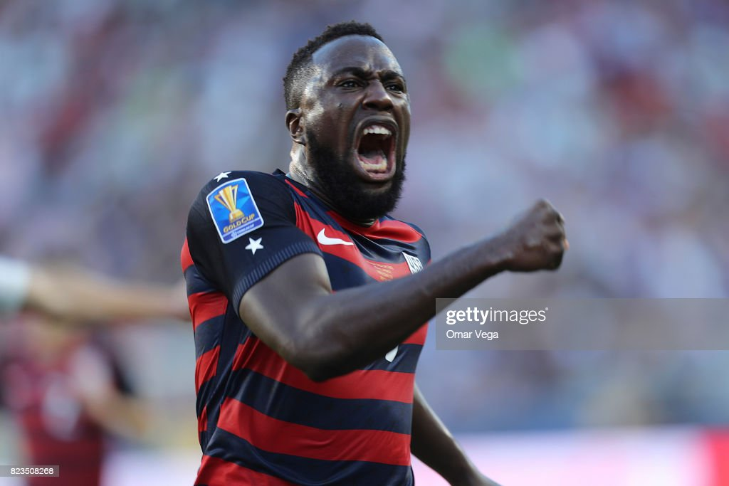 Jozy Altidore of United States celebrates after scoring the first goal of his team during the CONCACAF Gold Cup 2017 final match between United States and Jamaica at Levi's Stadium on July 26, 2017 in Santa Clara, California.