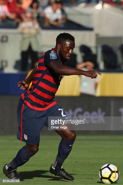 Jozy Altidore of United States drives the ball during the CONCACAF Gold Cup 2017 final match between United States and Jamaica at Levi's Stadium on...