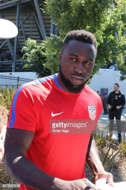 Jozy Altidore of United States signs autographs after the United States National Team training session prior to the final match against Jamaica at...