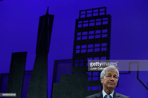 JPMorgan Chase and Co chairman and CEO Jamie Dimon speaks during the Fortune Global Forum on November 4 2015 in San Francisco California Business...