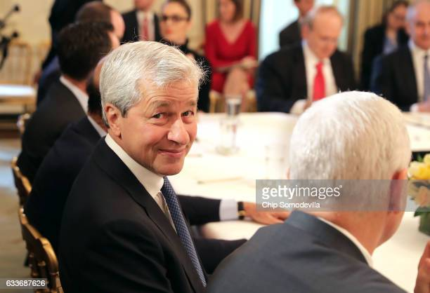 JPMorgan Chase CEO Jamie Dimon attends a policy forum with US President Donald Trump in the State Dining Room at the White House February 3 2017 in...