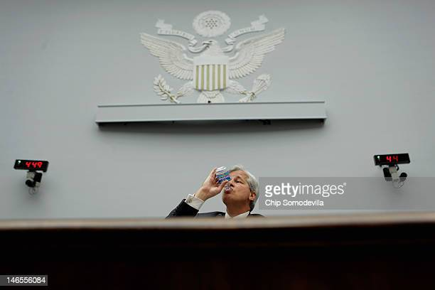 JPMorgan Chase Co Chairman and CEO Jamie Dimon testifies before the House Financial Services Committee on Capitol Hill June 19 2012 in Washington DC...