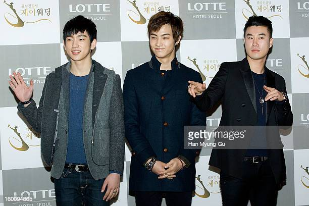 Jr and JB of South Korean boy band JJ Project and singer San E attend the wedding of Sun of Wonder Girls at Lotte Hotel on January 26 2013 in Seoul...