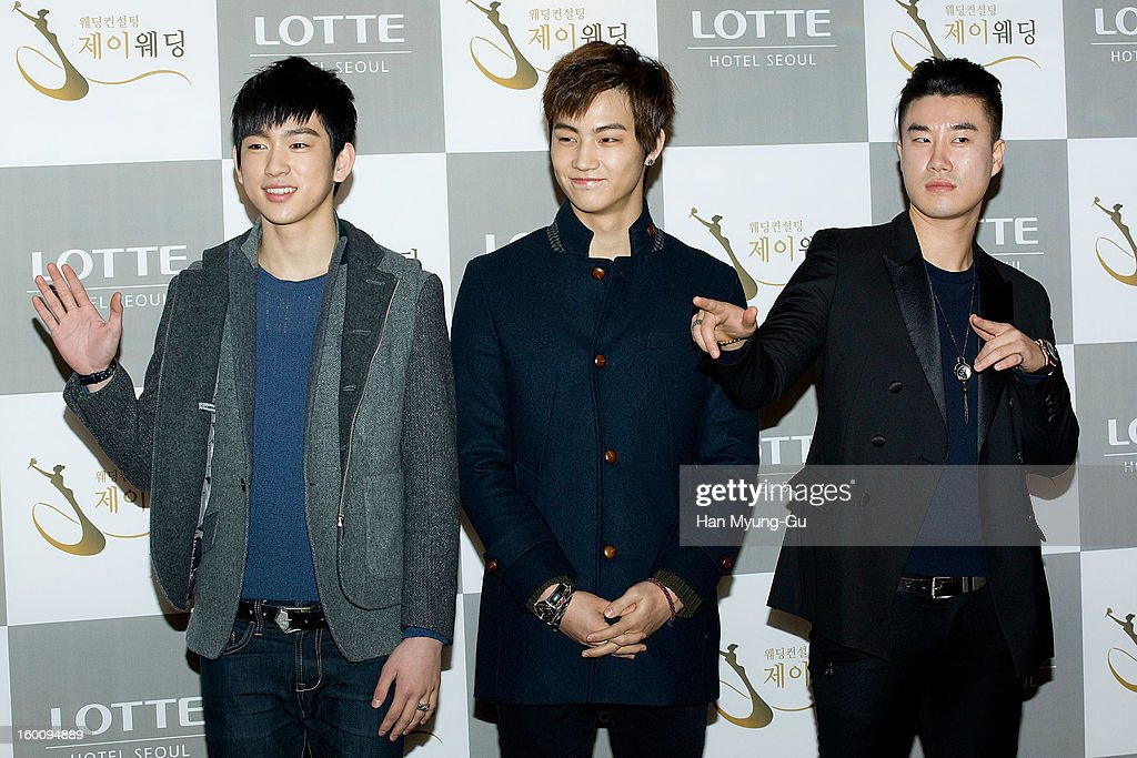 Jr. and JB of South Korean boy band JJ Project and singer San E attend the wedding of Sun of Wonder Girls at Lotte Hotel on January 26, 2013 in Seoul, South Korea.