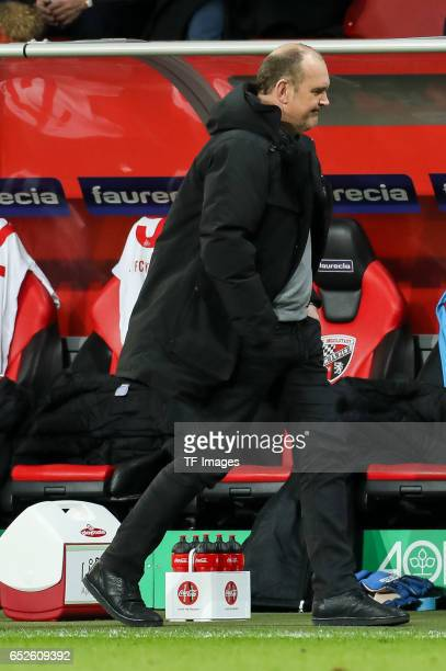 Jörg Schmadtke of Cologne looks on during the Bundesliga match between FC Ingolstadt 04 and 1 FC Koeln at Audi Sportpark on March 11 2017 in...