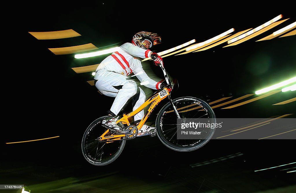 Jürgen Schelling of Austria clears a jump during day two of the UCI BMX World Championships at Vector Arena on July 25, 2013 in Auckland, New Zealand.