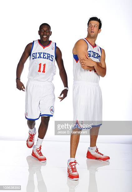 Jrue Holiday and Jason Kapono of the Philadelphia 76ers pose for a photo during Media Day on September 27 2010 at the Wells Fargo Center in...