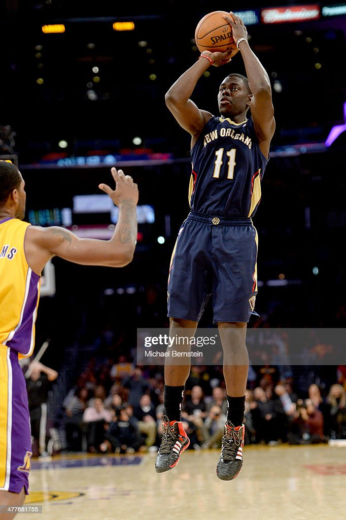 Jrue Holiday #11 of the New Orleans Pelicans attempts a shot during a game against the Los Angeles Lakers at Staples Center on November 12, 2013 in Los Angeles, California.