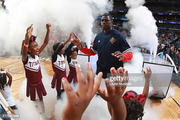 Jrue Holiday of the New Orleans Pelicans before the game against the New York Knicks on March 28 2016 at Smoothie King Center in New Orleans...