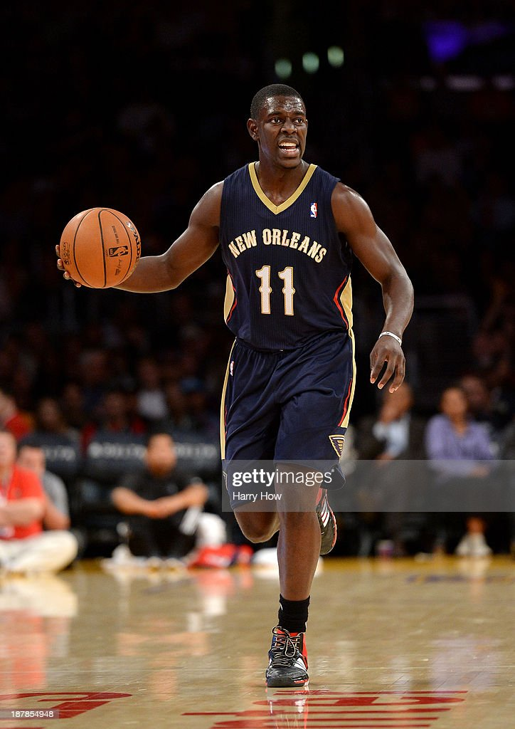 Jrue Holiday of the New Orleans Pelicans brings the ball up court during the game against the Los Angeles Lakers at Staples Center on November 12...