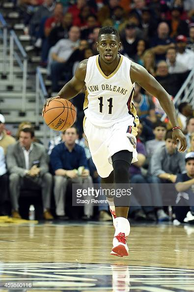 Jrue Holiday of the New Orleans Pelicans brings the ball up court during the fourth quarter of a game against the Oklahoma City Thunder at the...