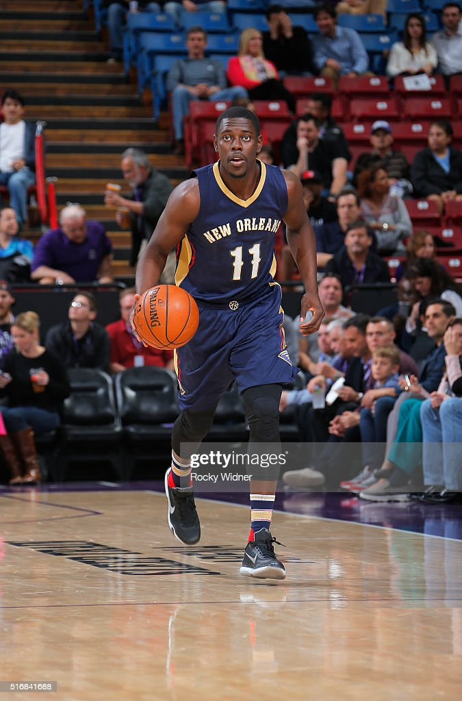 Jrue Holiday of the New Orleans Pelicans brings the ball up the court against the Sacramento Kings on March 16 2016 at Sleep Train Arena in...