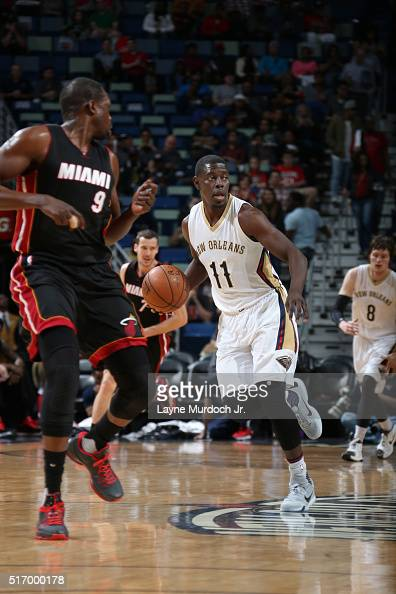 Jrue Holiday of the New Orleans Pelicans defends the ball against the Miami Heat during the game on March 22 2016 at Smoothie King Center in New...