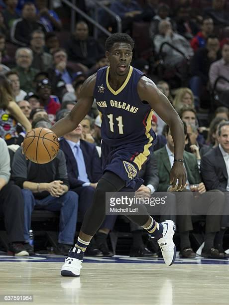 Jrue Holiday of the New Orleans Pelicans dribbles the ball against the Philadelphia 76ers at Wells Fargo Center on December 20 2016 in Philadelphia...