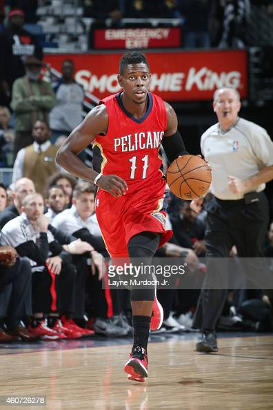 Jrue Holiday of the New Orleans Pelicans drives to the basket against the Portland Trail Blazersduring the game on December 20 2014 at Smoothie King...