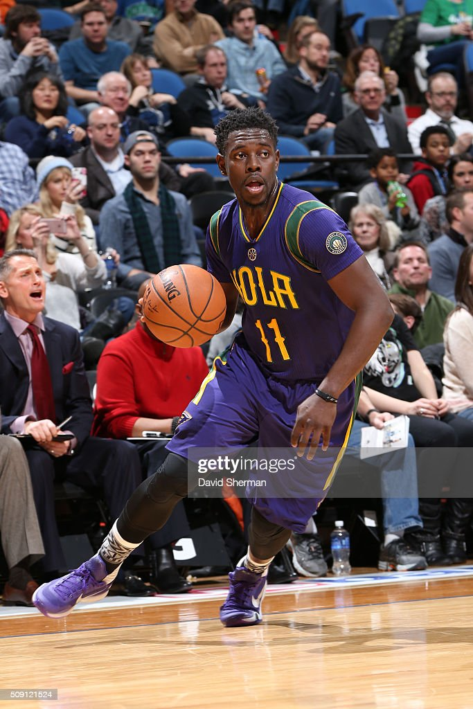 <a gi-track='captionPersonalityLinkClicked' href=/galleries/search?phrase=Jrue+Holiday&family=editorial&specificpeople=5042484 ng-click='$event.stopPropagation()'>Jrue Holiday</a> #11 of the New Orleans Pelicans drives to the basket against the Minnesota Timberwolves during the game on February 8, 2016 at Target Center in Minneapolis, Minnesota.