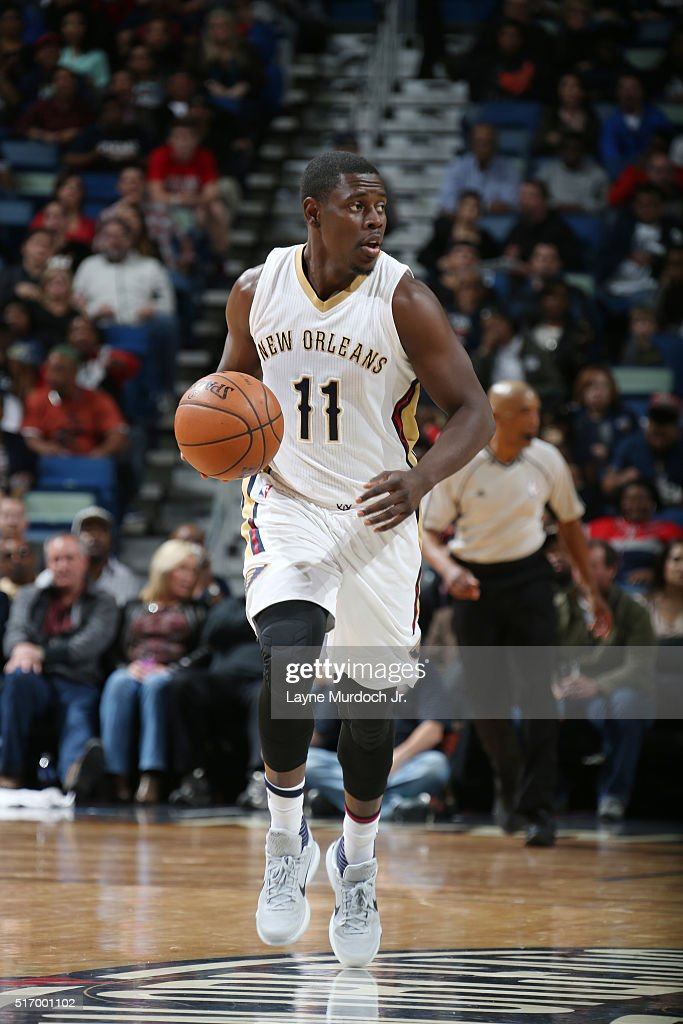 Jrue Holiday of the New Orleans Pelicans drives to the basket against the Miami Heat during the game on March 22 2016 at Smoothie King Center in New...