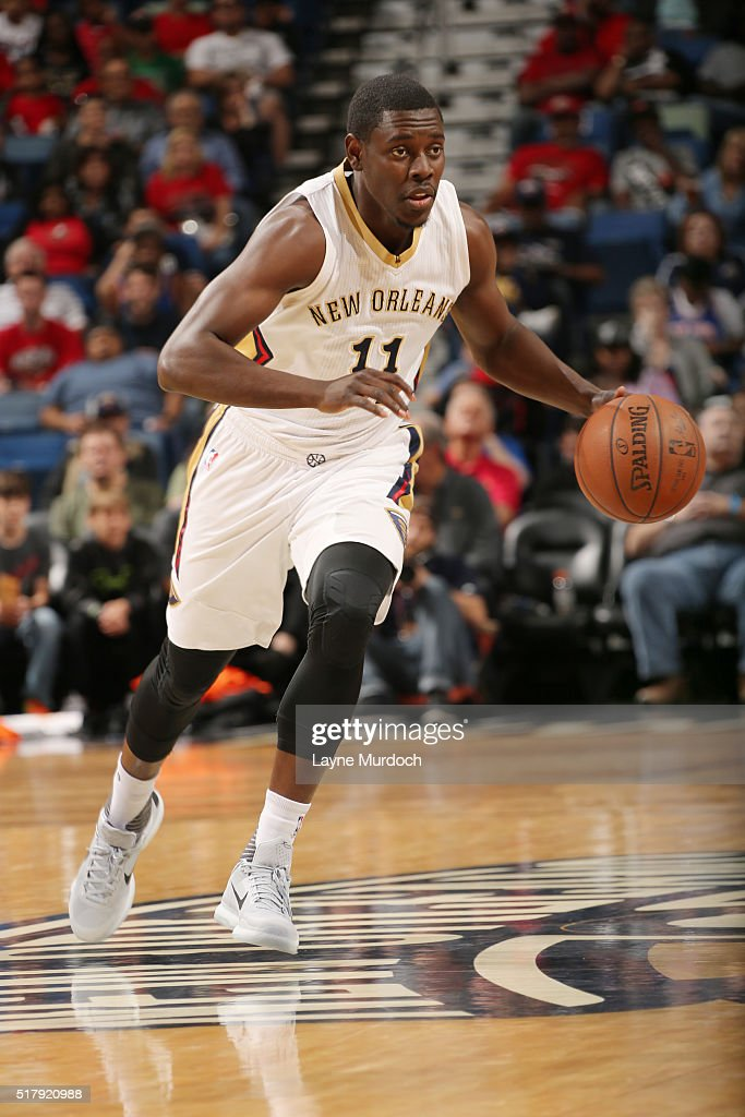Jrue Holiday of the New Orleans Pelicans drives to the basket against the New York Knicks during the game on March 28 2016 at Smoothie King Center in...