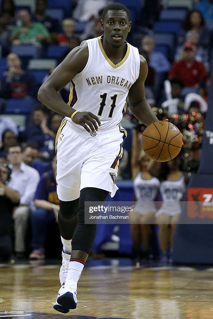 Jrue Holiday of the New Orleans Pelicans drives with the ball during a game at Smoothie King Center on March 7 2016 in New Orleans Louisiana NOTE TO...
