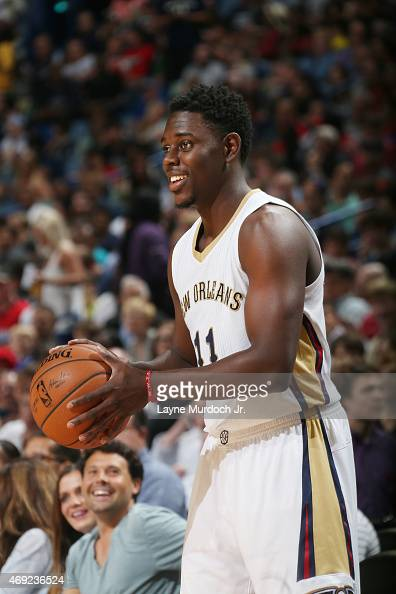 Jrue Holiday of the New Orleans Pelicans during the game against the Phoenix Suns on April 10 2015 at Smoothie King Center in New Orleans Louisiana...