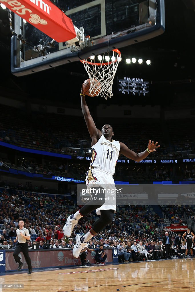 Jrue Holiday of the New Orleans Pelicans goes to the basket against the Sacramento Kings on March 7 2016 at the Smoothie King Center in New Orleans...