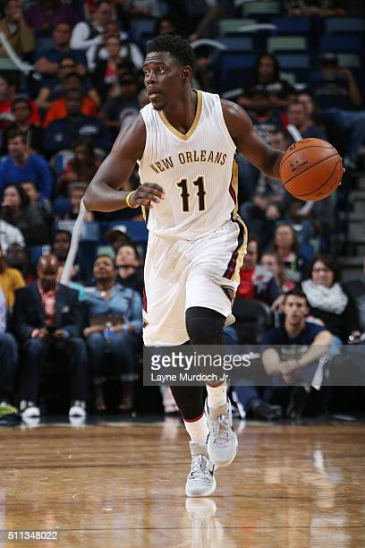 Jrue Holiday of the New Orleans Pelicans handles the ball against the Philadelphia 76ers on February 19 2016 at the Smoothie King Center in New...