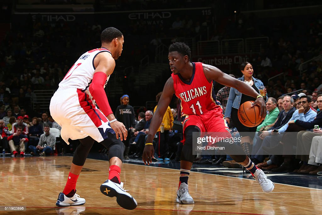 Jrue Holiday of the New Orleans Pelicans handles the ball against the Washington Wizards on February 23 2016 at Verizon Center in Washington DC NOTE...