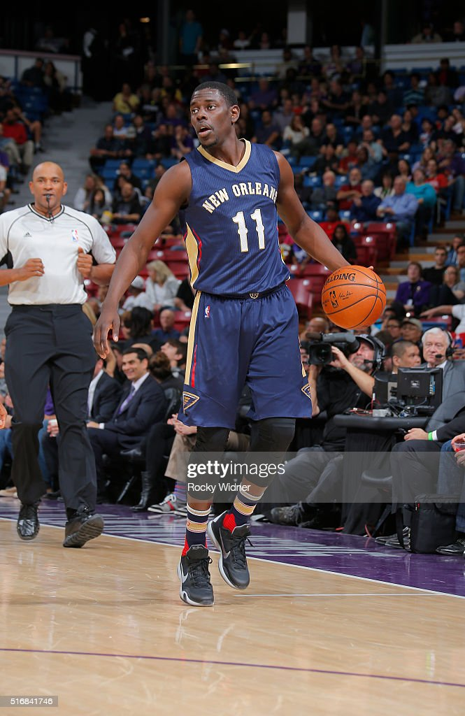 Jrue Holiday of the New Orleans Pelicans handles the ball against the Sacramento Kings on March 16 2016 at Sleep Train Arena in Sacramento California...