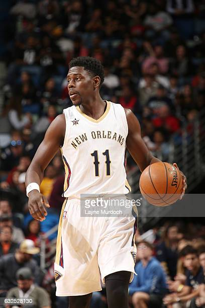 Jrue Holiday of the New Orleans Pelicans handles the ball against the Cleveland Cavaliers during the game on January 23 2017 at Smoothie King Center...