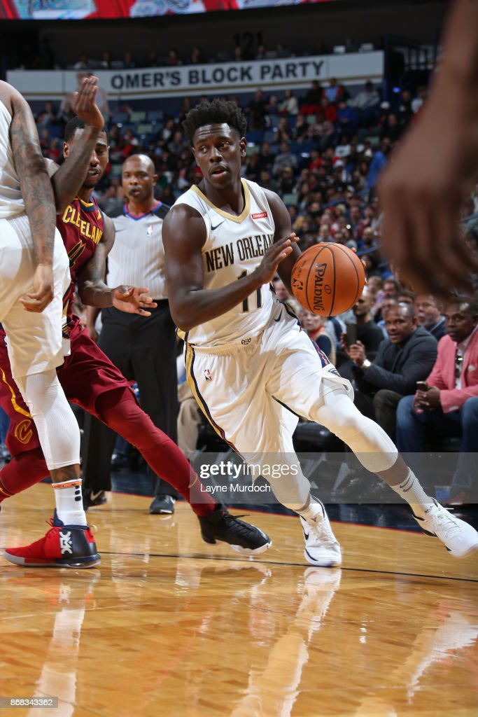 Jrue Holiday #11 of the New Orleans Pelicans handles the ball against the Cleveland Cavaliers on October 28, 2017 at the Smoothie King Center in New Orleans, Louisiana.