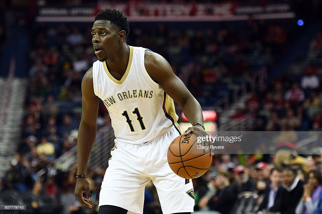 Jrue Holiday of the New Orleans Pelicans handles the ball during a game against the Sacramento Kings at the Smoothie King Center on January 28 2016...