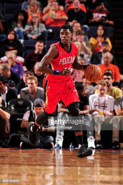 Jrue Holiday of the New Orleans Pelicans handles the ball during a game against the Phoenix Suns on February 13 2017 at Talking Stick Resort Arena in...