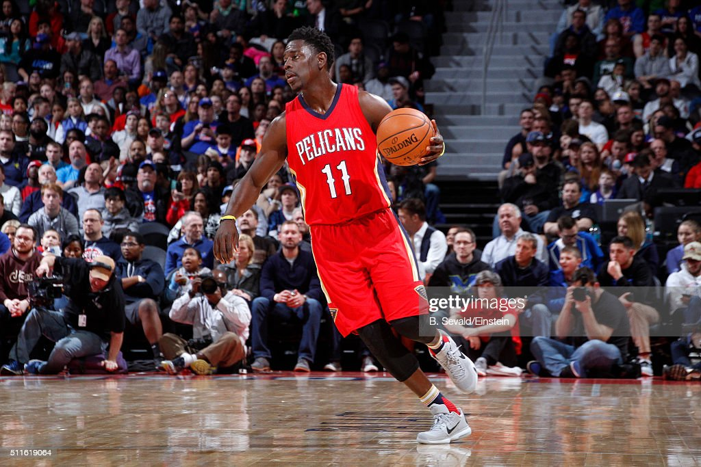 Jrue Holiday of the New Orleans Pelicans handles the ball during the game against the Detroit Pistons on February 21 2016 at The Palace of Auburn...