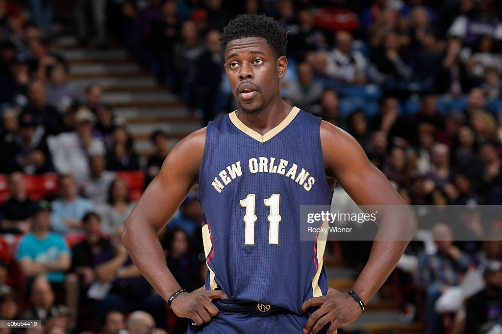 Jrue Holiday of the New Orleans Pelicans looks on during the game against the Sacramento Kings on January 13 2016 at Sleep Train Arena in Sacramento...