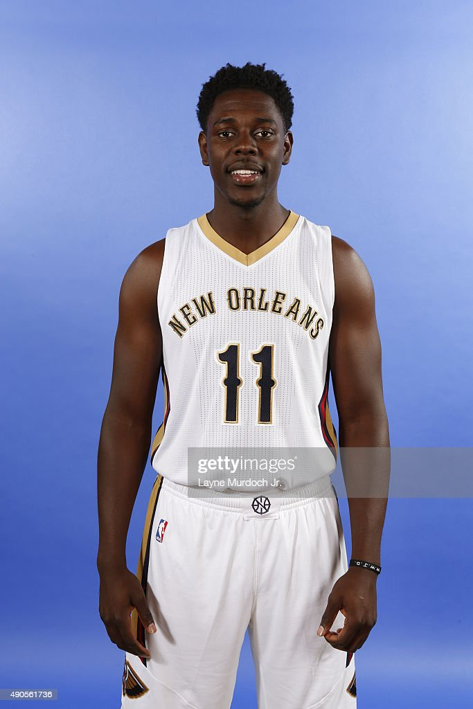 Jrue Holiday of the New Orleans Pelicans pose for photos during NBA Media Day on September 28 2015 at the New Orleans Pelicans practice facility in...