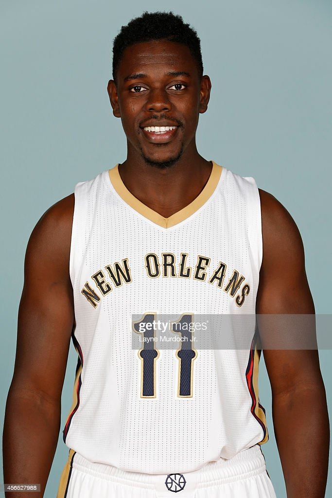 Jrue Holiday of the New Orleans Pelicans poses for photos during NBA Media Day on September 29 2014 at the New Orleans Pelicans practice facility in...