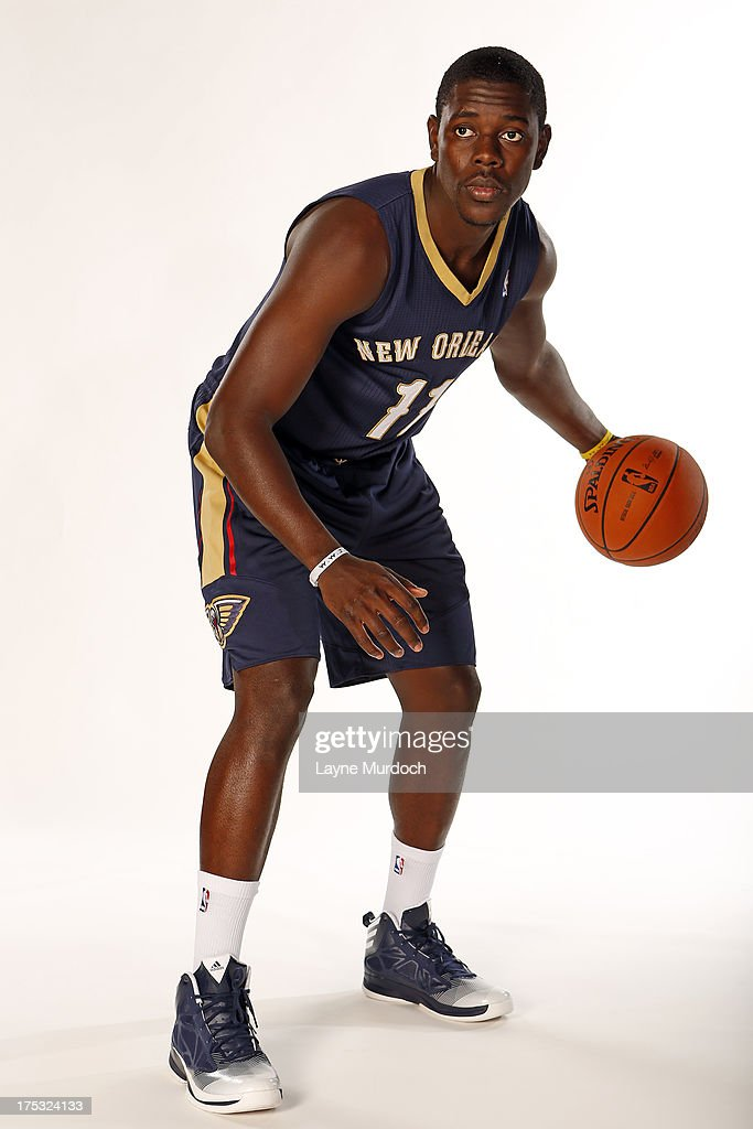 <a gi-track='captionPersonalityLinkClicked' href=/galleries/search?phrase=Jrue+Holiday&family=editorial&specificpeople=5042484 ng-click='$event.stopPropagation()'>Jrue Holiday</a> #11 of the New Orleans Pelicans poses with the team's new road uniform on August 1, 2013 at the New Orleans Pelicans practice facility in Metairie, Louisiana.