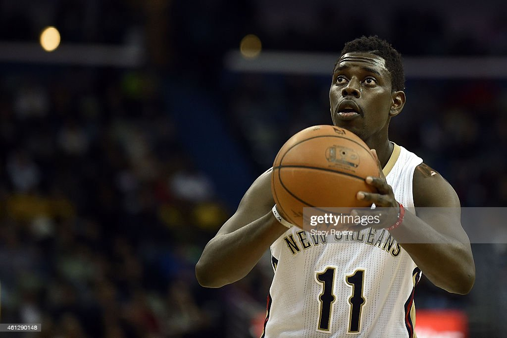 Jrue Holiday of the New Orleans Pelicans shoots a free throw during a game against the Memphis Grizzlies at the Smoothie King Center on January 9...
