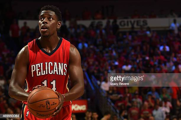 Jrue Holiday of the New Orleans Pelicans shoots a free throw during a game against the San Antonio Spurs at the Smoothie King Center on April 15 2015...