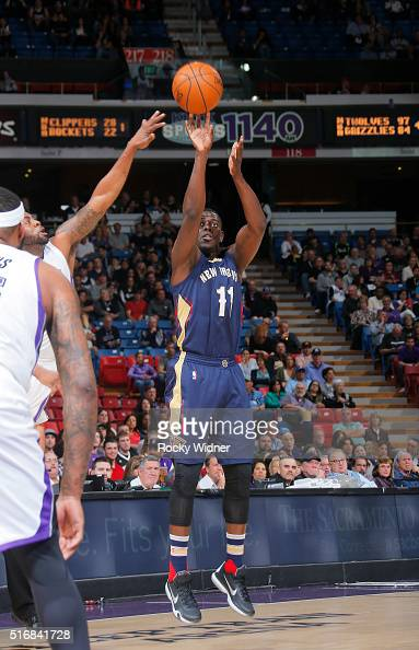 Jrue Holiday of the New Orleans Pelicans shoots a three pointer against the Sacramento Kings on March 16 2016 at Sleep Train Arena in Sacramento...
