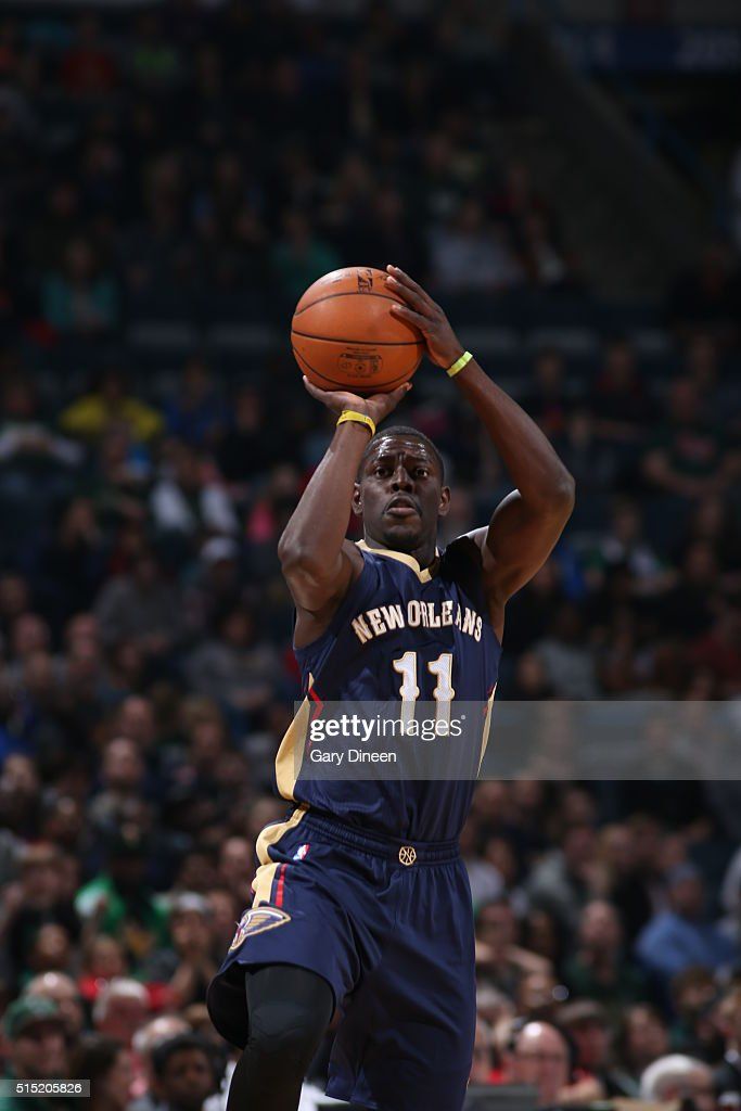 Jrue Holiday of the New Orleans Pelicans shoots against the Milwaukee Bucks on March 12 2016 at the BMO Harris Bradley Center in Milwaukee Wisconsin...