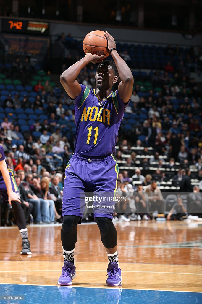<a gi-track='captionPersonalityLinkClicked' href=/galleries/search?phrase=Jrue+Holiday&family=editorial&specificpeople=5042484 ng-click='$event.stopPropagation()'>Jrue Holiday</a> #11 of the New Orleans Pelicans shoots against the Minnesota Timberwolves during the game on February 8, 2016 at Target Center in Minneapolis, Minnesota.